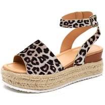 Womens Wedges Sandal Open Toe Ankle Strap Trendy Espadrille Platform Sandals Flats (Leopard,US M 8.5)