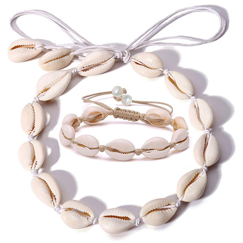 Spiritlele Natural Shell Choker Necklace Set Handmade Cowrie Beach Anklet Bracelet for Women