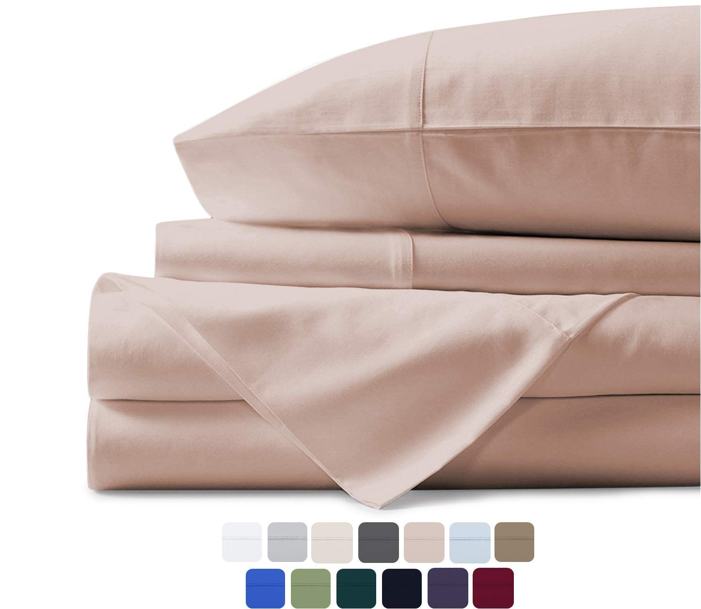 Mayfair Linen 100 Egyptian Cotton Sheets Blush King Sheets Set 600 Thread Count Long Staple Cotton Sateen Weave For Soft And Silky Feel Fits Mattress Upto 18 Deep Pocket