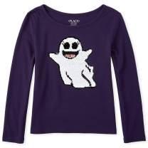 The Children's Place Girls' Big Long Sleeve Graphic Flip Sequin T-Shirt