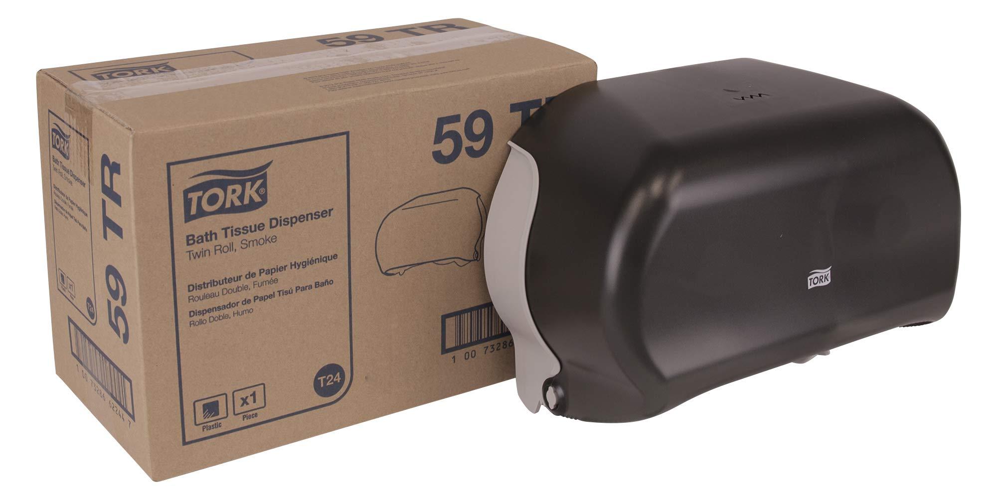 "Tork 59TR Twin Bath Tissue Roll Dispenser, Plastic, 8.25"" Height x 12.75"" Width x 5.57"" Depth, Smoke (Case of 1) for use with Tork TM6511S, TM6512, TM6120S, TM6130S, TM1602"