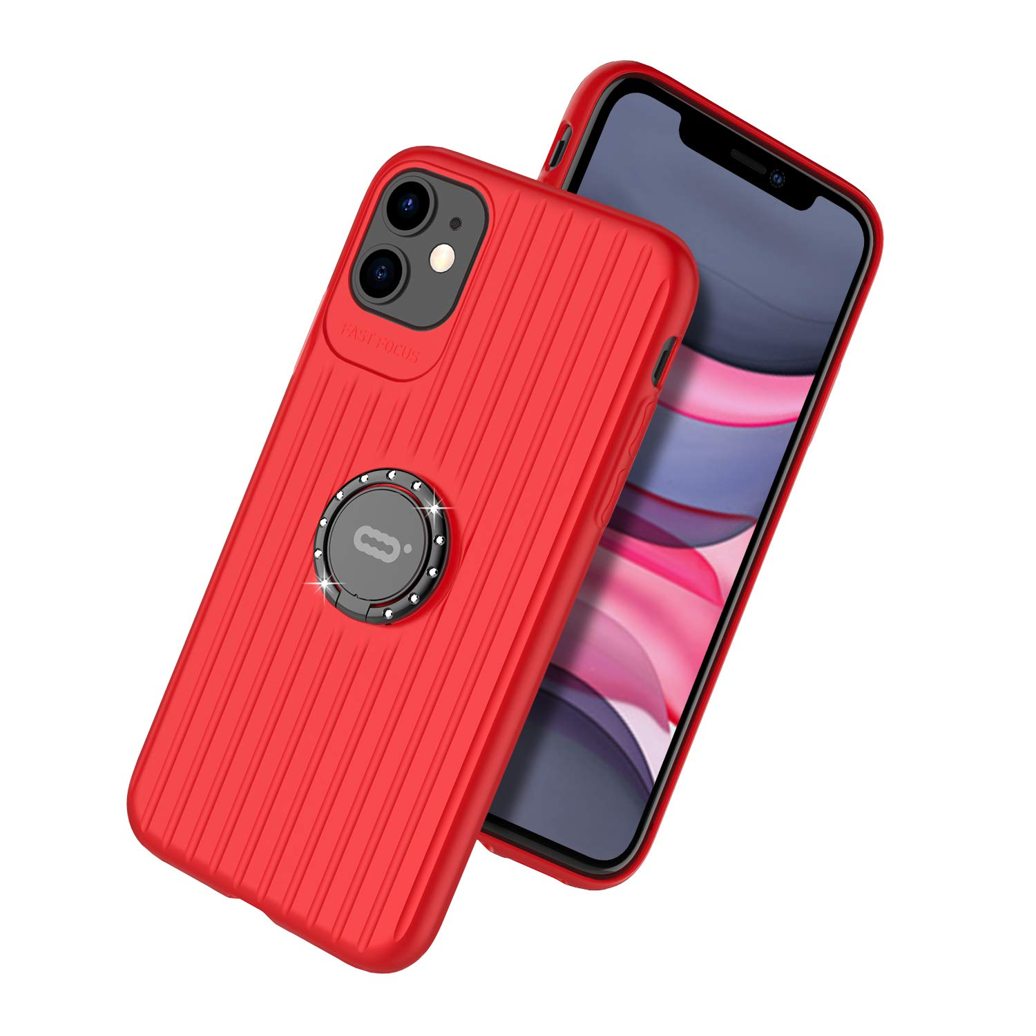 DESOF iPhone 11 Case, Ultra-Slim iPhone 11 6.1''Case with Fashion Sparkling Bling Rhinestone Ring Holder Stand Compatible for Magnetic Car Mount Cover Case for iPhone 11 (2019) 6.1 inch-Red