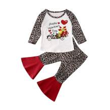 Toddler Baby Girl Valentines Day Outfit Leopard Long Sleeve Letter T-Shirt Tops Bell Bottoms Flare Pants 2Pcs Clothes (White + Red, 6-12 Months)