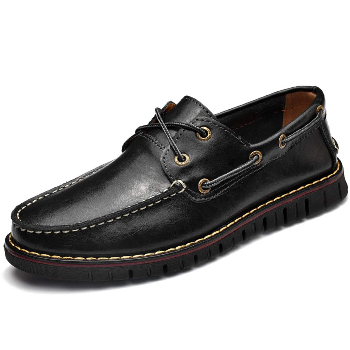 Mens Casual Loafer Genuine Leather Lace-up Boat Shoe Non-Slip Comfort Driving Moccasin Breathable Fashion Dress Shoe Black