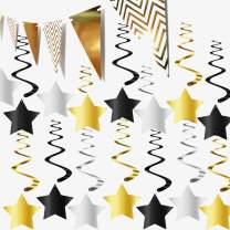 31 Pack Sparkling Hanging Star Swirls Black and Gold Party Decorations Kit for Birthday Wedding Engagement Bridal Shower Baby Shower Bachelorette Graduation Supplies - 1 Gold Triangle Banner Include