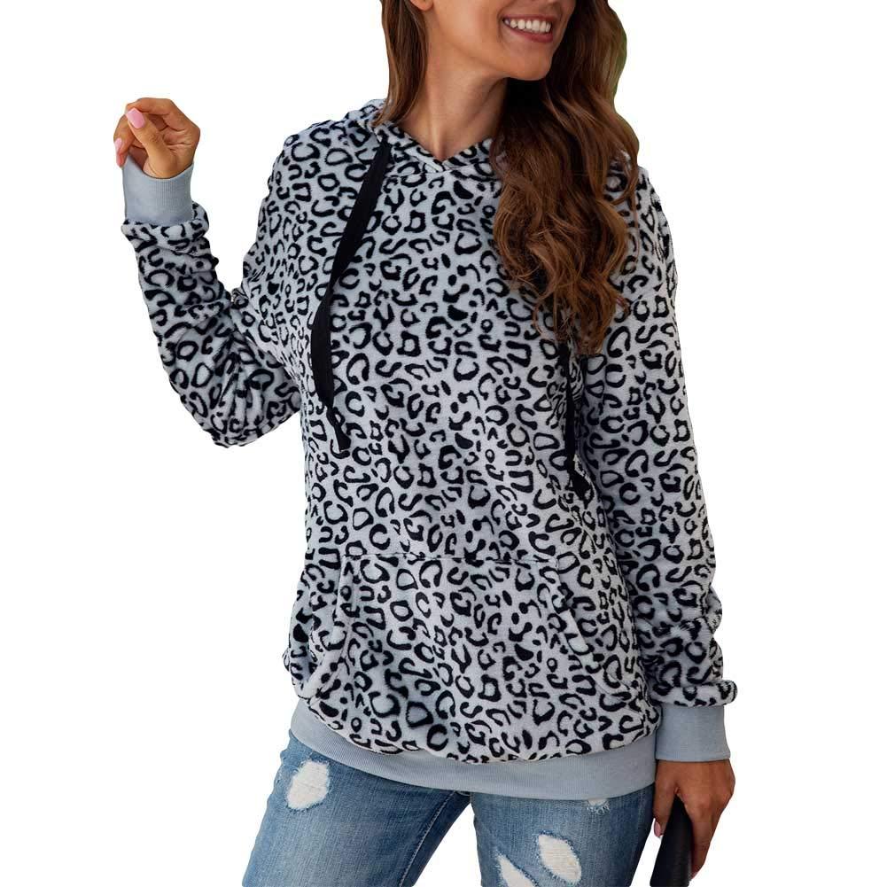 acelyn Women's Leopard Hooded Sweatshirt - Drawstring Hoodies Long Sleeve Casual Pullover with Pockets Winter Coat