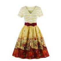 Wellwits Women's V Neck Short Sleeve Stripes Patterned Swing Dress with Belt