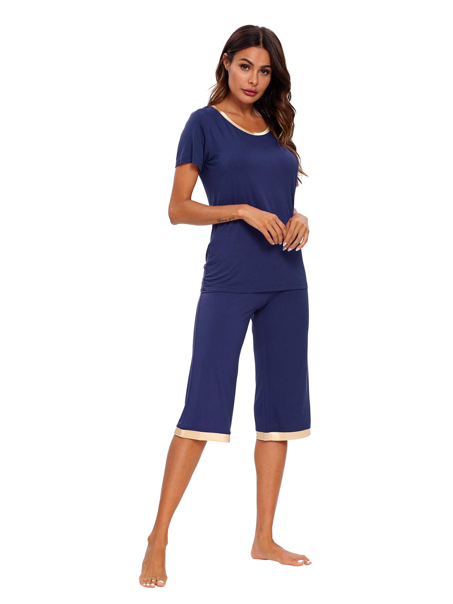 TIKTIK Womens Modal Pajama Set Comfy Sleepwear Top with Capri Pants Pjs Petite Plus Size S-4XL, Black, Small