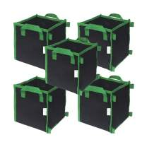 CASOLLY 7 Gallon 5 Pack Square Grow Bags with Heavy Duty Handle Planting Pots