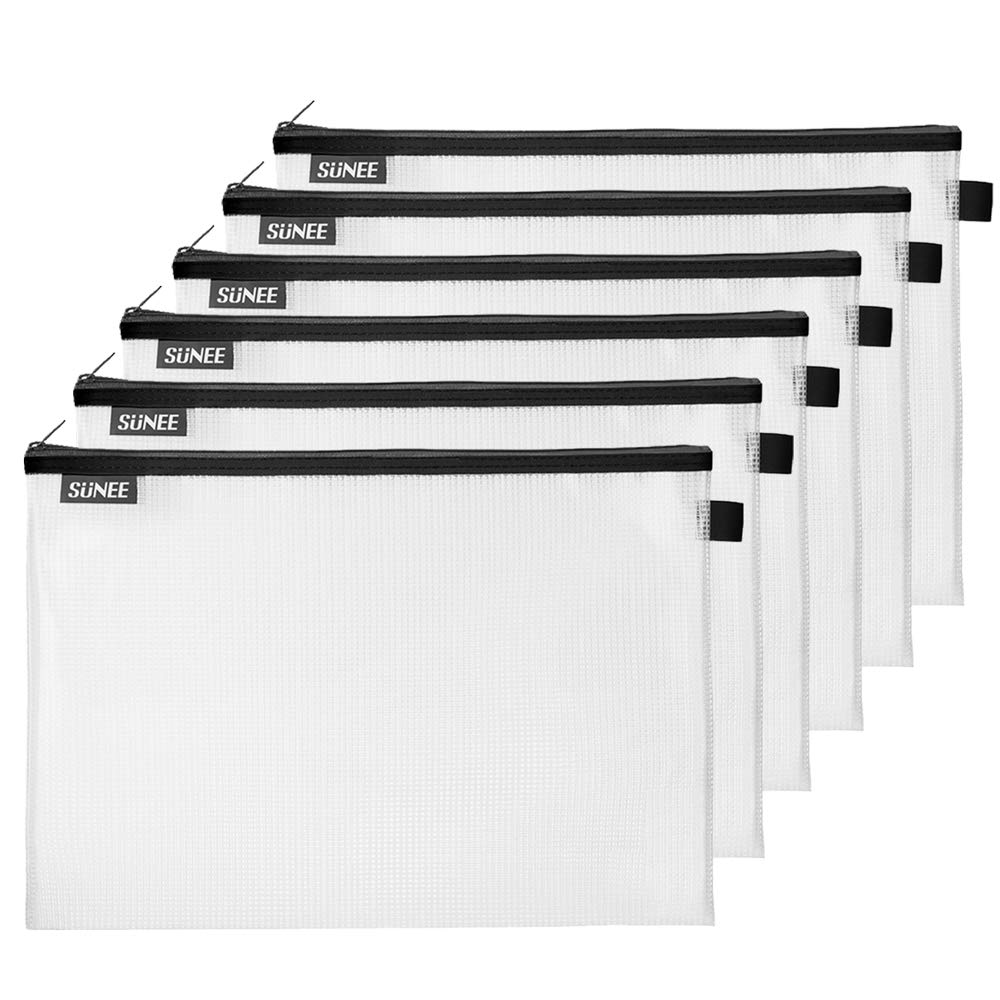 SUNEE Plastic Mesh Zipper Pouch Document Bag 10x14 in - (Black, 6 Pack) Letter Size Waterproof Document Pouch for School Office Supplies, Cross Stitch Organizing Storage