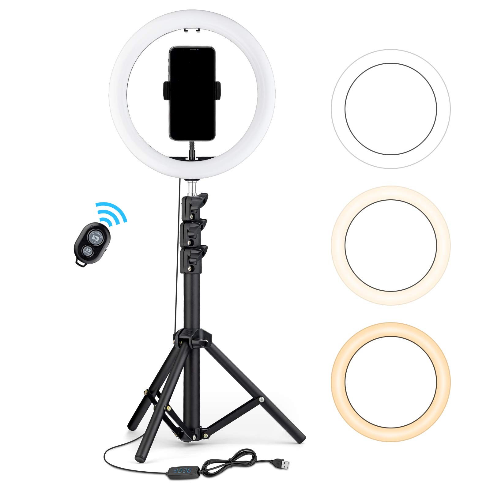 """OJelay 10"""" LED Selfie Ring Light(Black) with 1.3m Tripod Stand & Phone Holder, 120PCS LED Bulbs with 3 Lighting Modes for Live Stream/YouTube/TikTok Video/Makeup/Salon, Compatible with iPhone, Android"""