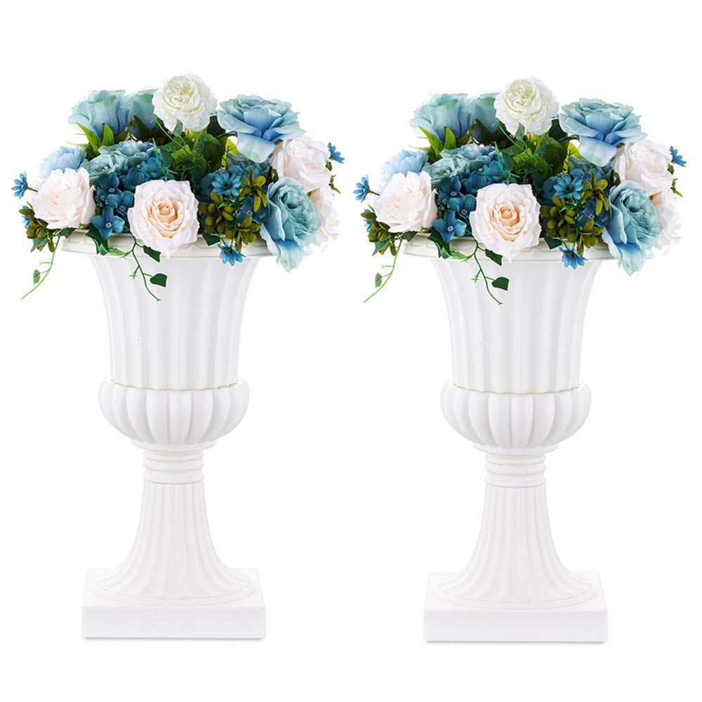 Nuptio 2 Pcs Classic Urn Planter, 19.7 inches Height Plastic Indoor or Outdoor Decorative Urn, Vintage Style Flower Pot, Home Garden Porch Front Door Planters Deck Balcony Decoration, White