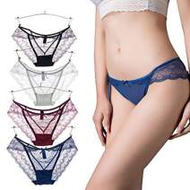 Sexy Womens Underwear 4 Pack Peacock Pattern Transparent Soft Lace Briefs Lingerie