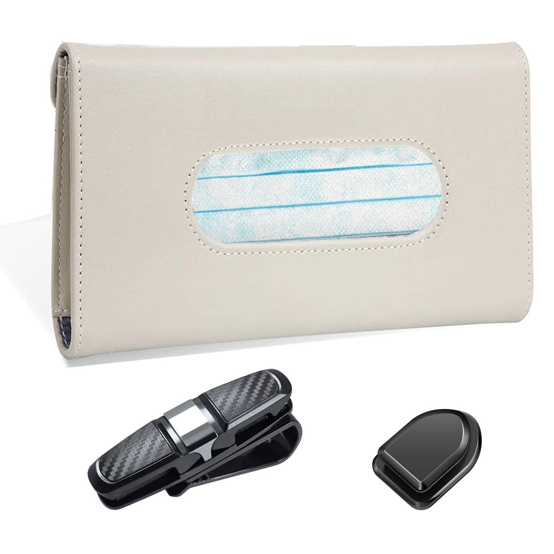 LIFUTOPIA Mask/Tissue Holder for Car Visor W/Glasses Holders+Car Sticker Hooks Khaki