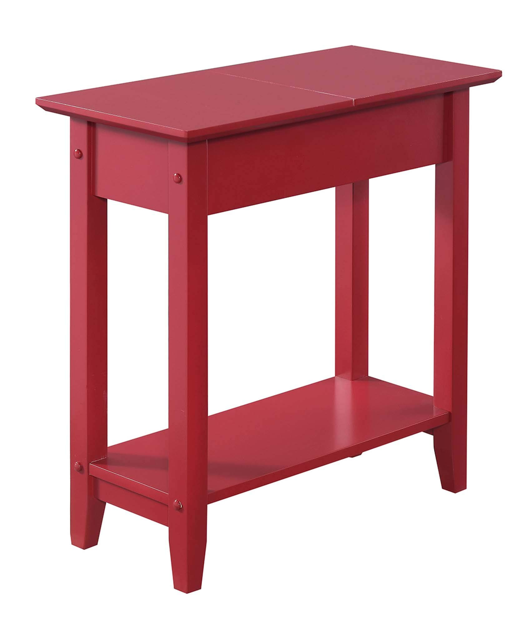 Convenience Concepts American Heritage Flip Top End Table, Cranberry Red