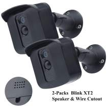 Protective Housing Wall Mount Hard Case & Adjustable Metal Bracket for Blink XT2 Camera - Exclusively Designed for Blink XT2 Security Camera with Speaker Cutout (2-Pack, Black)