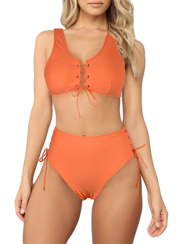 Sidefeel Women Lace Up High Waist Bikini Set Two Piece Swimsuit