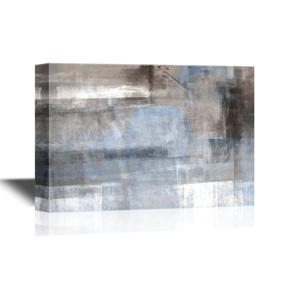 wall26 - Canvas Wall Art - Abstract Grunge Grey Color Composition - Gallery Wrap Modern Home Decor   Ready to Hang - 24x36 inches