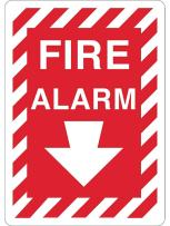 """ZING 1891A Zing Safety Sign, Fire Alarm with Arrow, 10"""" Height x 7"""" Width, Recycled Aluminum, White on Red"""
