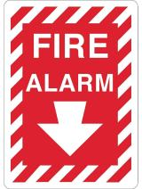"ZING 2891S Zing Safety Sign, Fire Alarm with Arrow, 14"" Height x 10"" Width, Recycled Polystyrene Self Adhesive, White on Red"