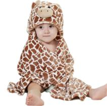 Baby Hooded Bath Towels Animal Bathrobe Fleece Towel Blanket (Brown Giraffe)