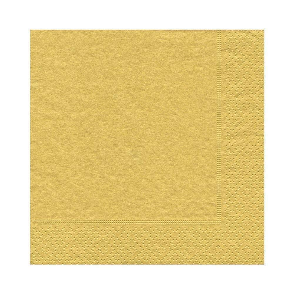 Caspari Solid Paper Luncheon Napkins in Gold, 20 Per Package