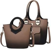 Fashion Gradient Women Shoulder Bags Ladies Tote Satchel Handbag 2pcs Purse Set (Beige)