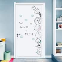 DKTIE Wall Stickers Decals for Kids Room Bedroom Baby Room Wall Decor Sticker Cute Animal Door Sticker