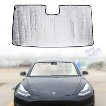 ROCCS 2018 2019 Tesla Model 3 2020 Tesla Model Y Windshield Sunshade, Car Custom Fit Sun Shade Auto Front Reflective Folding Sun Shade for Tesla Accessories, UV and Sun Protection