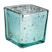 Just Artifacts Mercury Glass Square Votive Candle Holder 2-Inch (1pcs, Speckled Aqua)