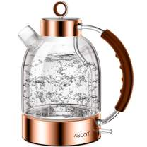 Electric Kettle, ASCOT Glass Electric Tea Kettle 1.6L, 1500W, Stainless Steel Tea Heater & Hot Water Boiler, Borosilicate Glass, BPA-Free, Cordless, with Auto Shut-Off and Boil-Dry Protection(Rose Gold)