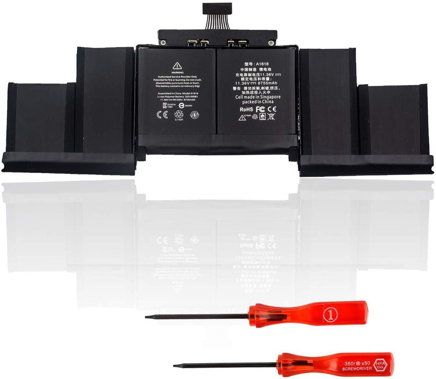 DTK A1618 Laptop Replacement Battery for A1398 Retina (2015 Version) 020-00079 MJLQ2LL/A MJLT2LL/A 11.34V 8800Mah
