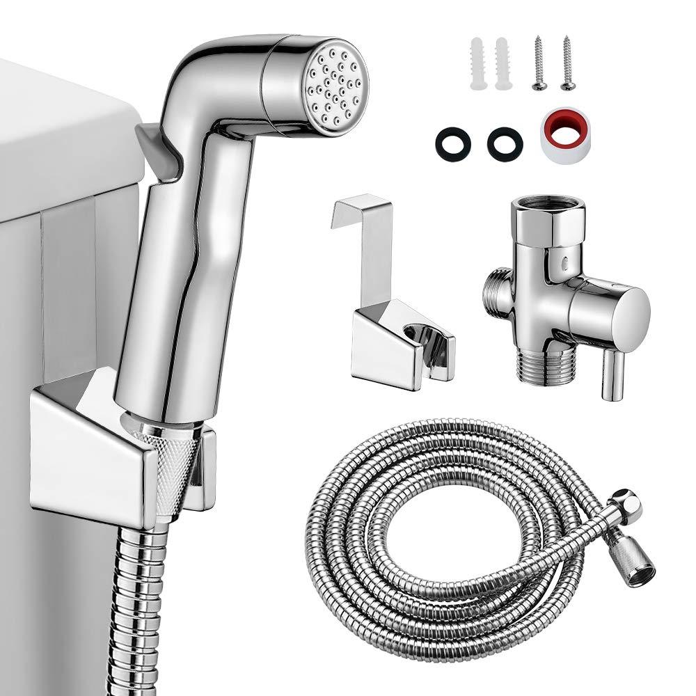 KAIYING Handheld Bidet Toilet Sprayer Kit, Baby Cloth Diaper Sprayer for Toilet, Bathroom Muslim Shower, Portable Bum Gun Water Spray Bidet Attachment, Support Wall or Toilet Mount