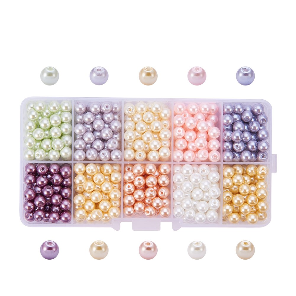 PH PandaHall 600pcs 6mm 10 Colors Tiny Satin Luster Round Glass Pearl Beads Loose Beads with 1.2mm Hole for Bracelet Jewelry Making