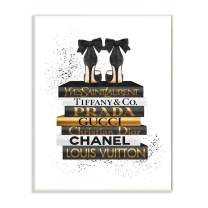 Stupell Industries Black Heels White Gold Bookstack Glam Fashion Design, Designed by Amanda Greenwood Art, 13 x 0.5 x 19, Wall Plaque
