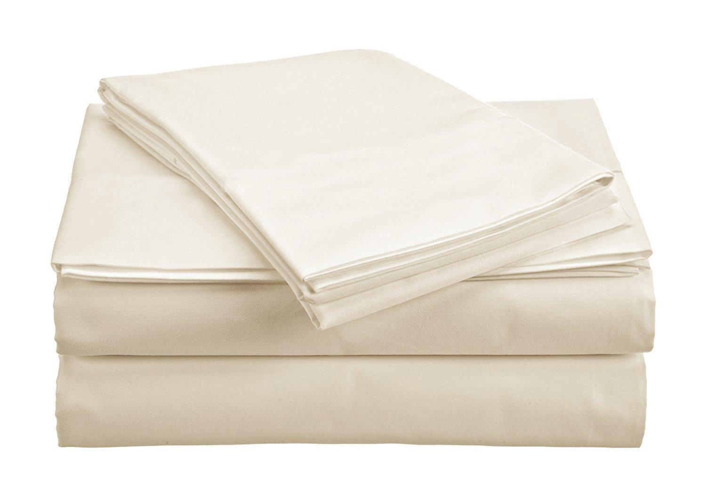 The Green Farmer 100% Organic Cotton Sheet Set Twin Size|GOTS Certified Organic Sheets|400TC, Ivory Sheet Set
