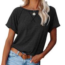 FEKOAFE Women's Summer Crewneck Short Sleeve Casual Loose Fit T Shirt