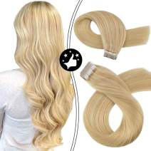 Moresoo 14 Inch Tape in Extensions Human Hair Blonde Extensions Remy Hair Dark Ash Blonde #16 Highlighted with #22 Adhesive Remy Human Hair Extensions Tape on Hair 100g/40pcs Full Head