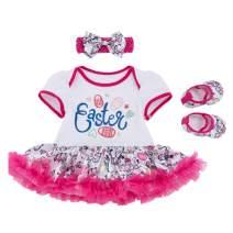 Happy Easter Baby Girls Outfit Newborn Infant Bunny Eggs Bodysuit Romper Dress Tutu Skirt Pants Clothes Set (59 for 0-3M, Style 1-Easter Bodysuit Dress,3Pcs)