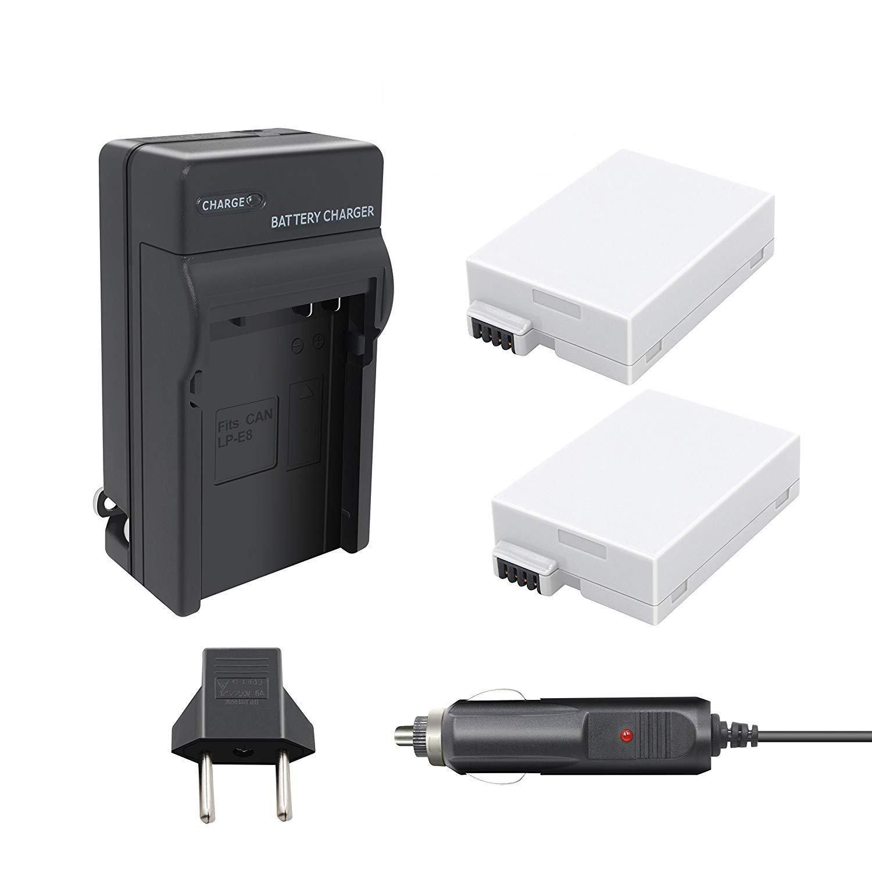 Bonacell LP-E8 Battery(2 Pack) and Charger Compatible with Canon Rebel T3i, T2i, T4i, T5i, EOS 600D, 550D, 650D, 700D, Kiss X5, X4, Kiss X6, X6i, X7i, LC-E8E Digital Camera
