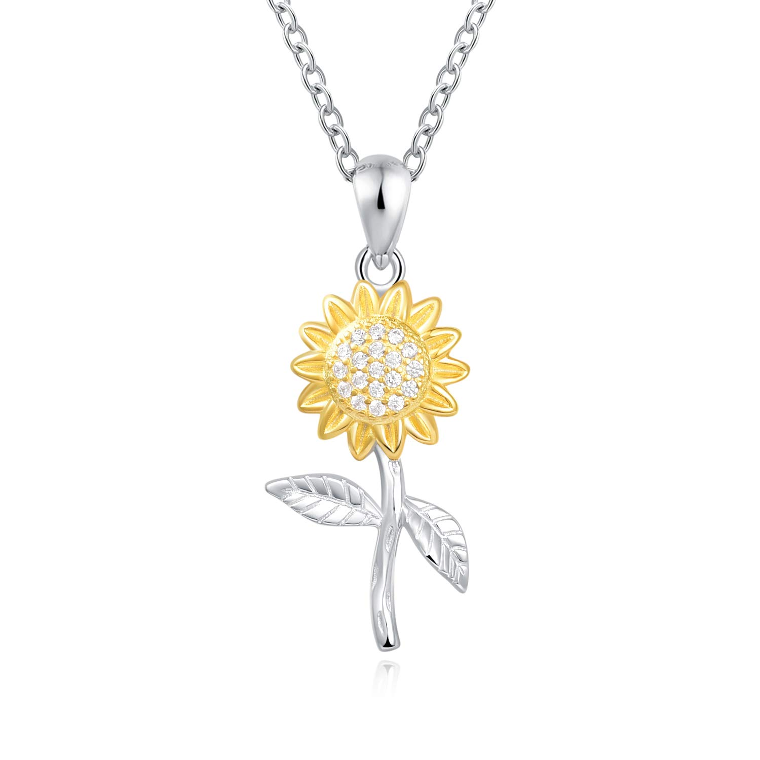Sunflower Necklace Sterling Silver You are My Sunshine Gold Plated with Cubic Zirconia Jewelry for Mom