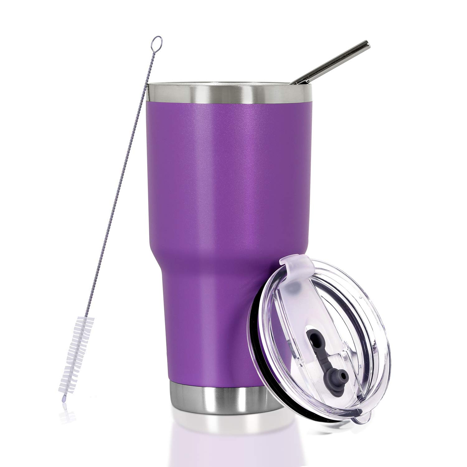 30 oz. Tumbler Double Wall Stainless Steel Vacuum Insulation Travel Mug with Crystal Clear Lid and Straw, Water Coffee Cup for Home,Office,School, Ice Drink, Hot Beverage,Purple