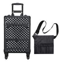 Topeakmart Rolling Makeup Case with Makeup Brush Bag and Large Drawer Lock Detachable Wheels Studio Train Case Black
