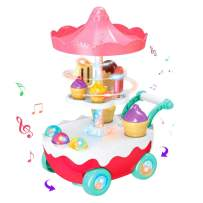 Zwish Ice Cream Car Trolley Carts Pretend Play Set for Baby Kids with Music LED Light Gift for 3 4 5 Years Old Girls and Boys