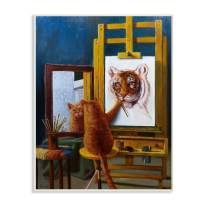 Stupell Industries Cat Confidence Self Portrait as a Tiger Funny Painting Wall Plaque, 13 x 19, Design by Artist Lucia Heffernan