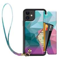 iPhone 11 Wallet Case, iPhone 11 Card Holder Case, ZVEdeng iPhone 11 Case with Wrist Strap, Shockproof PU Leather Print Designed Case Handbag, 6.1inch-Mixcolor