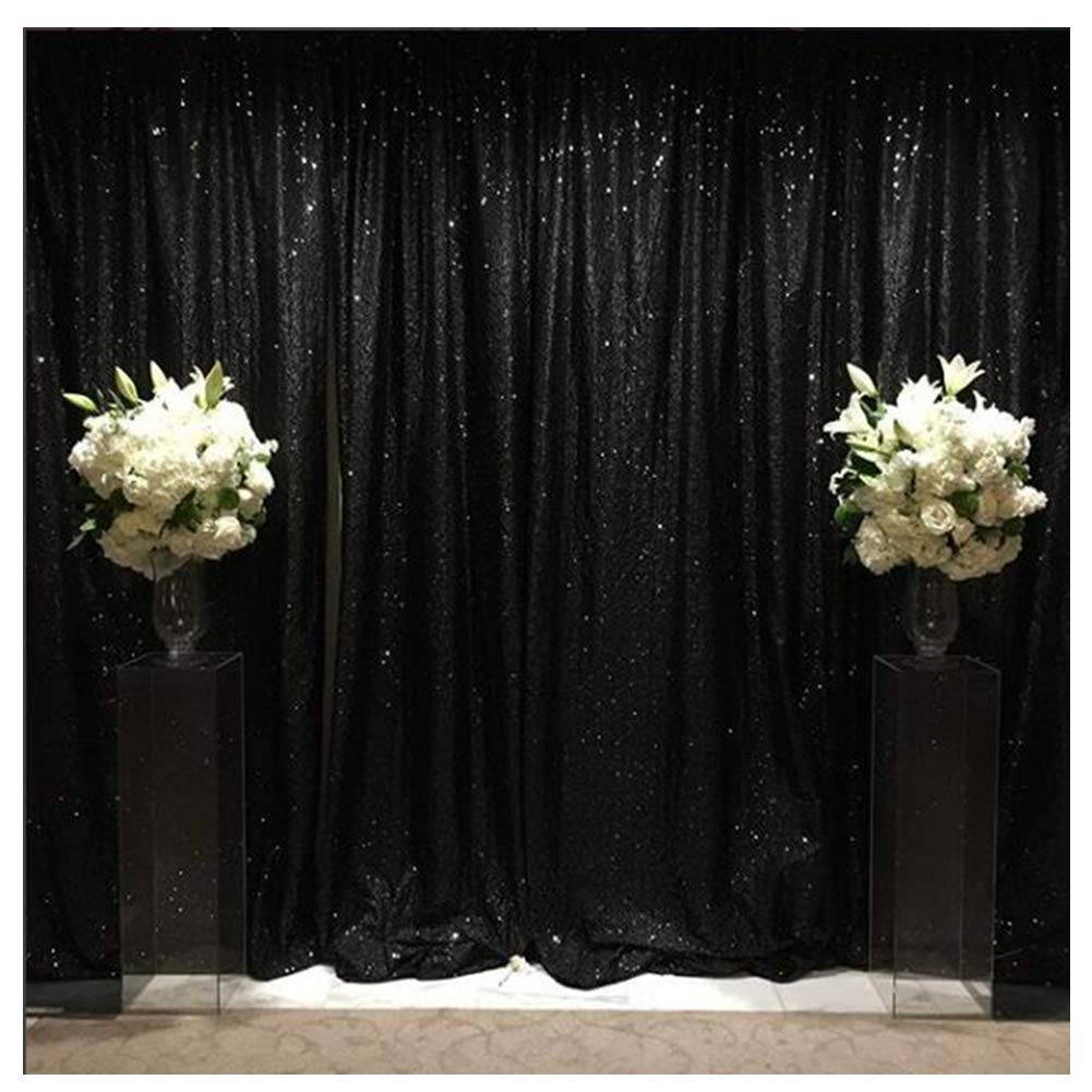 Black Sequin Backdrop 8ftx8ft Sequin Photography Background for Bridal Photo Booth Sequin Studio Background Christmas Decoration