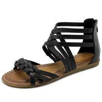 Ollio Women's Shoe Gladiator Strappy Zip Closure Multi Color Sandal