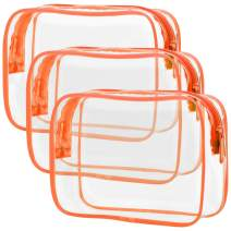 Clear Makeup Bag with Zipper, Packism 3 Pack Beauty Clear Cosmetic Bag TSA Approved Toiletry Bag, Travel Clear Toiletry Bag, Quart Size Bag Carry on Airport Airline Compliant Bag, Orange