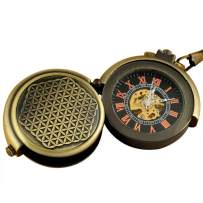 VIGOROSO Men's Retro Archaize Bronze Unique Hide Carved Steampunk Chain Mechanical Pocket Watch in Box